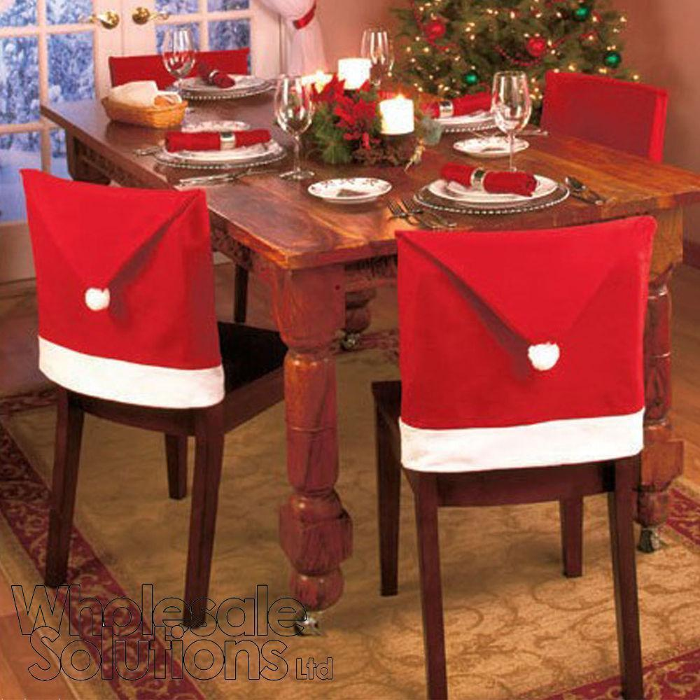 4Pcs Christmas Chair Covers Dinner Chair Santa Hat Home Decorations