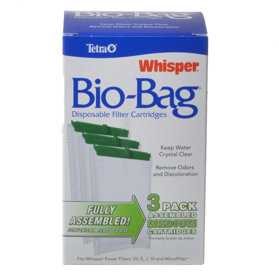 Tetra Bio-Bag Disposable Filter Cartridges Medium - For Whisper 10, 10i, E, J & Micro Power Filters (3 Pack) - Pack of 2