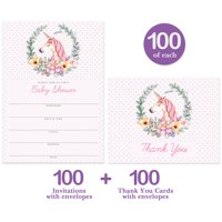 """Cute Baby Shower Invitations & Thank You Cards 100 Each Charming Pink Unicorn Big Family Party Large Group 5x7"""" Blank Invites & Folded Thank You Notes Boxed Bulk Set with Envelopes Digibuddha VS0076J"""