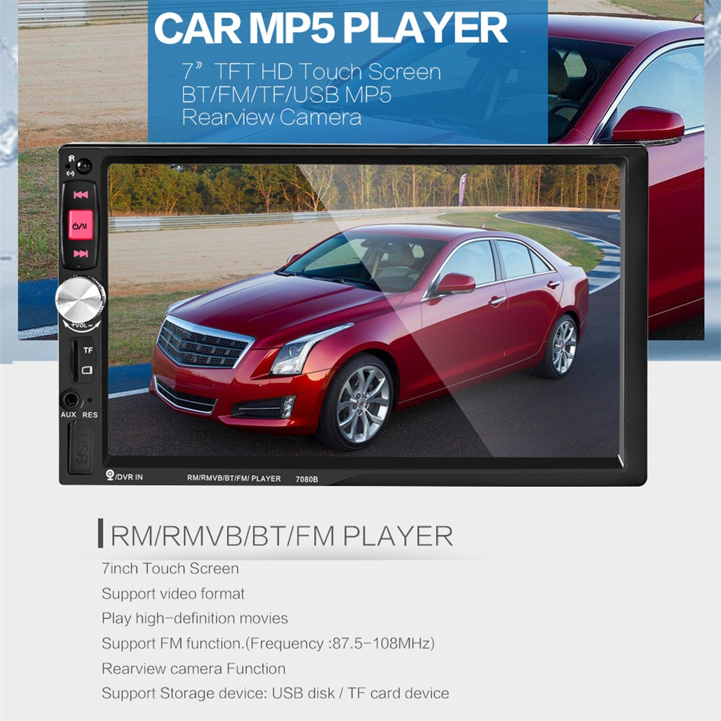 7080B Car Video Player 7 Inch with HD Touch Screen Bluetooth Stereo Radio