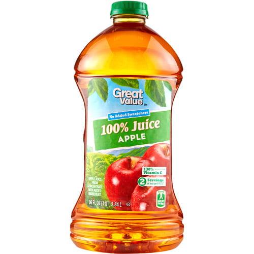 Great Value 100% Apple Juice, 96 Fl Oz
