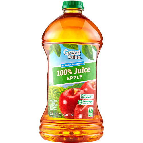 Great Value 100% Apple Juice, 96 Fl Oz
