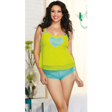 Lime Queen Lost In Love Cami Set Dreamgirl 9802X Lime