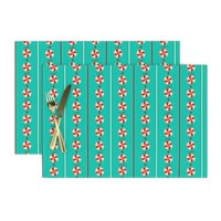 Cloth Placemats Holiday Christmas Sweets Garland Candy Candies Set of 2