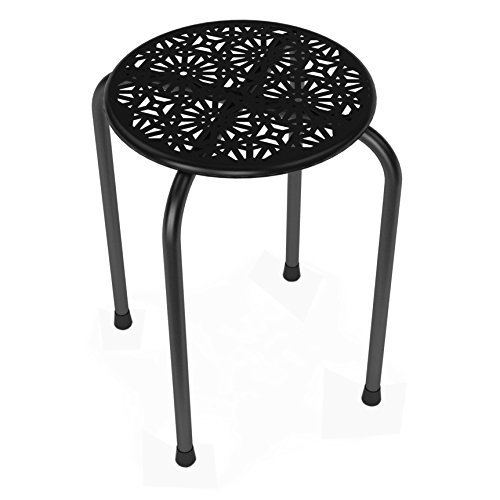 Click here to buy Dar Living Daisy Stackable Metal Stool, Black Set of 2 by ATLANTIC-PERSONAL & PORTABLE.