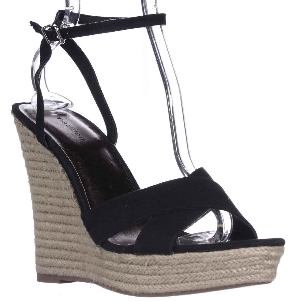 Womens madden girl Viicki Wedge Espadrille Sandals - Black