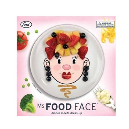 Ms food face kids dinner ceramic plate fun play dish gift for How to decorate a ceramic plate