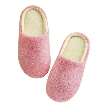 Women Men Winter Warm Fleece Anti-Slip Slippers Indoor House Shoes