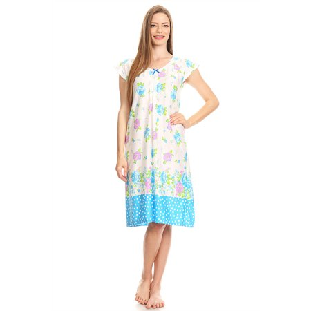 Premiere Fashion - 1809 Womens Nightgown Sleepwear Pajamas - Woman  Sleeveless Sleep Dress Nightshirt Blue M - Walmart.com d0031df683