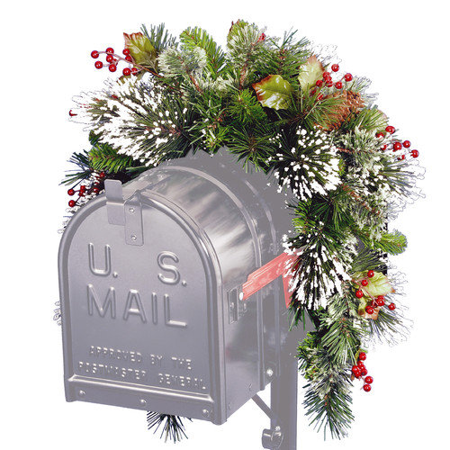 National Tree 3' Wintry Pine Collection Mailbox Swag with Red Berries, Cones and Snowflakes