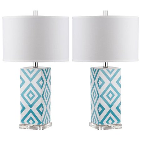 Safavieh LIT4135 Diamonds 2 Light Accent Table Lamp with Cylinder Cotton Shade (