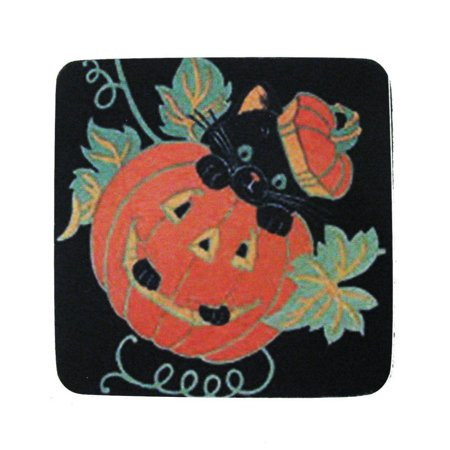 Black Vodka Drinks Halloween (Pack of 8 Absorbent Black Cat with Pumpkin Halloween Print Cocktail Drink Coasters)