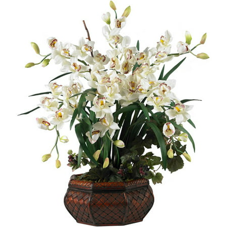 Potted Cymbidium - Nearly Natural Large Cymbidium Silk Flower Arrangement, White