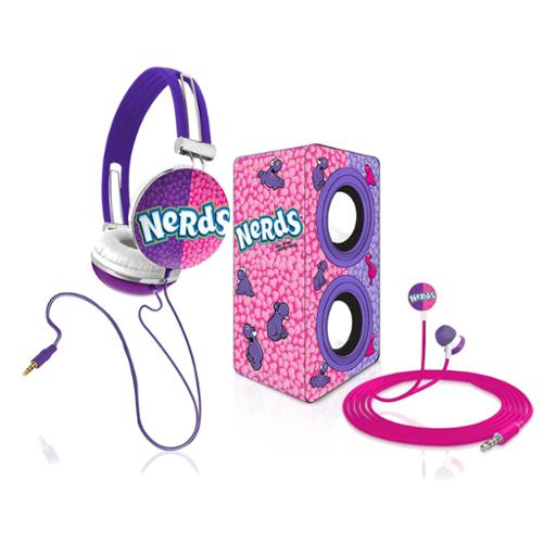 Candeez Nerds Stereo Combo Pack w/ Headphones, Earbuds, Mini Speaker