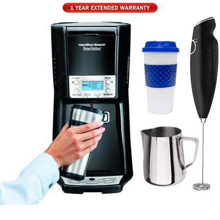 Hamilton Beach Brew Station Summit 12-Cup Dispensing Drip Coffeemaker (48463) with 1 Year Extended Warranty, Reusable To Go Mug, Milk Frothing Pitcher & Milk (1 2 Cup Coconut Milk In Ml)