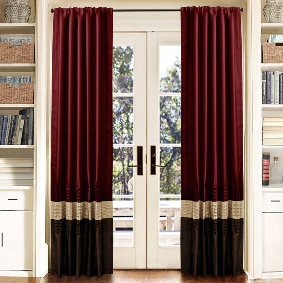 """Red Window Curtain Panels Sale: Mia Brown/Red Window Curtains, Pair, 54"""" X 84"""""""