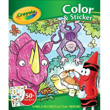 Crayola Jungle Animal Coloring Book With 50+ Stickers, Gift For Kids, 96 - Kids Coloring Books