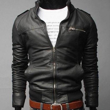 Solid Color Long Section Windproof PU Leather Coat Outwear for Men for Winter - image 1 of 4