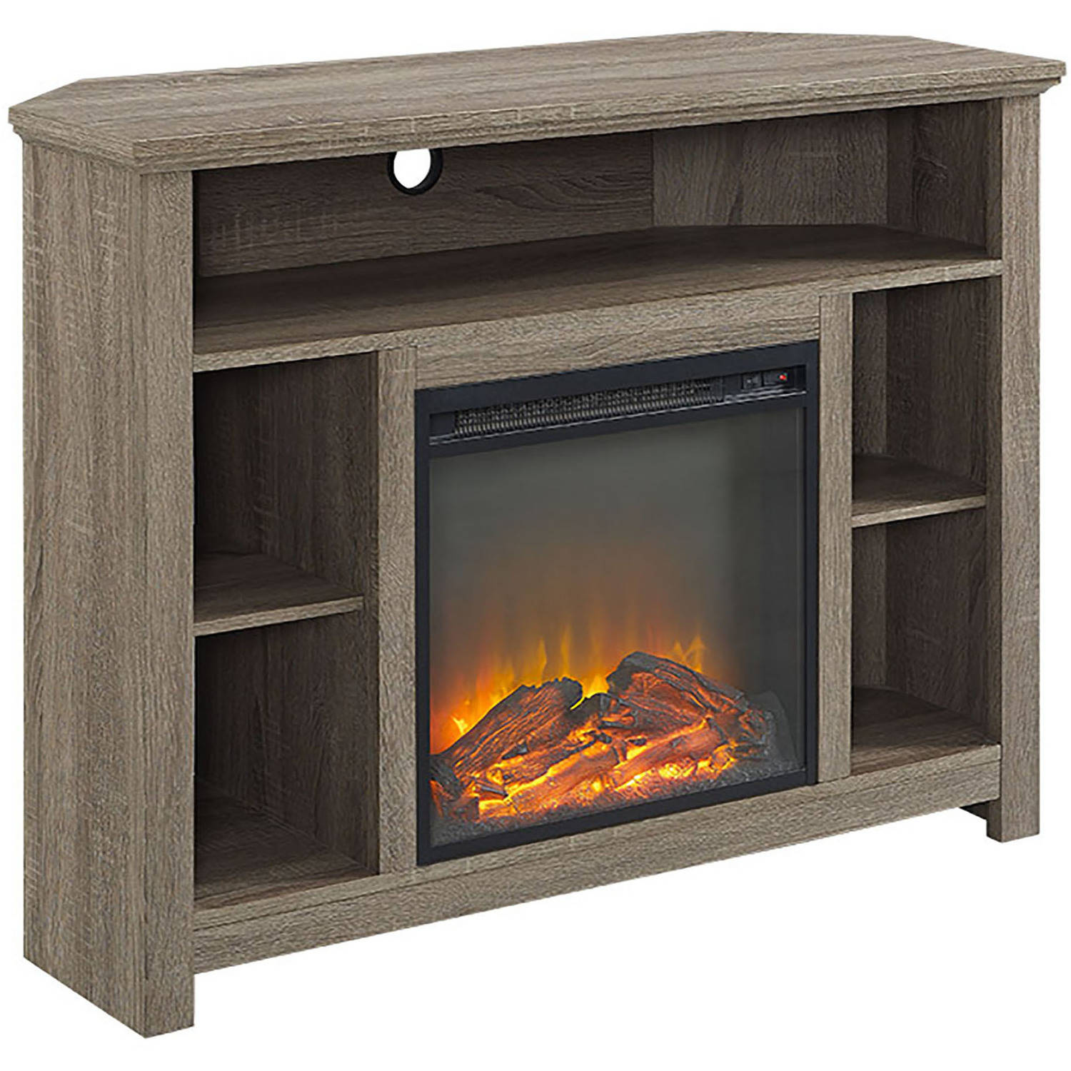 Driftwood Tv Stand With Fireplace Corner Mantel Electronic Space