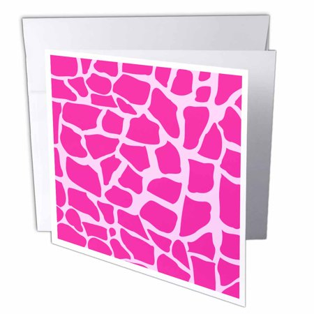 3dRose Hot pink giraffe pattern animal print mosaic - wild girly Africa pattern stylish fashionable design, Greeting Cards, 6 x 6 inches, set of 12 (Hot Pink Giraffe Print)