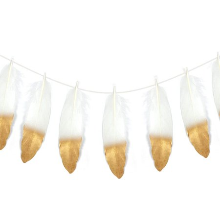 Wrapables® Gold Dipped Feather Garland, Bohemian Party Decoration for Weddings, Parties, and Baby Showers (Party Feather)