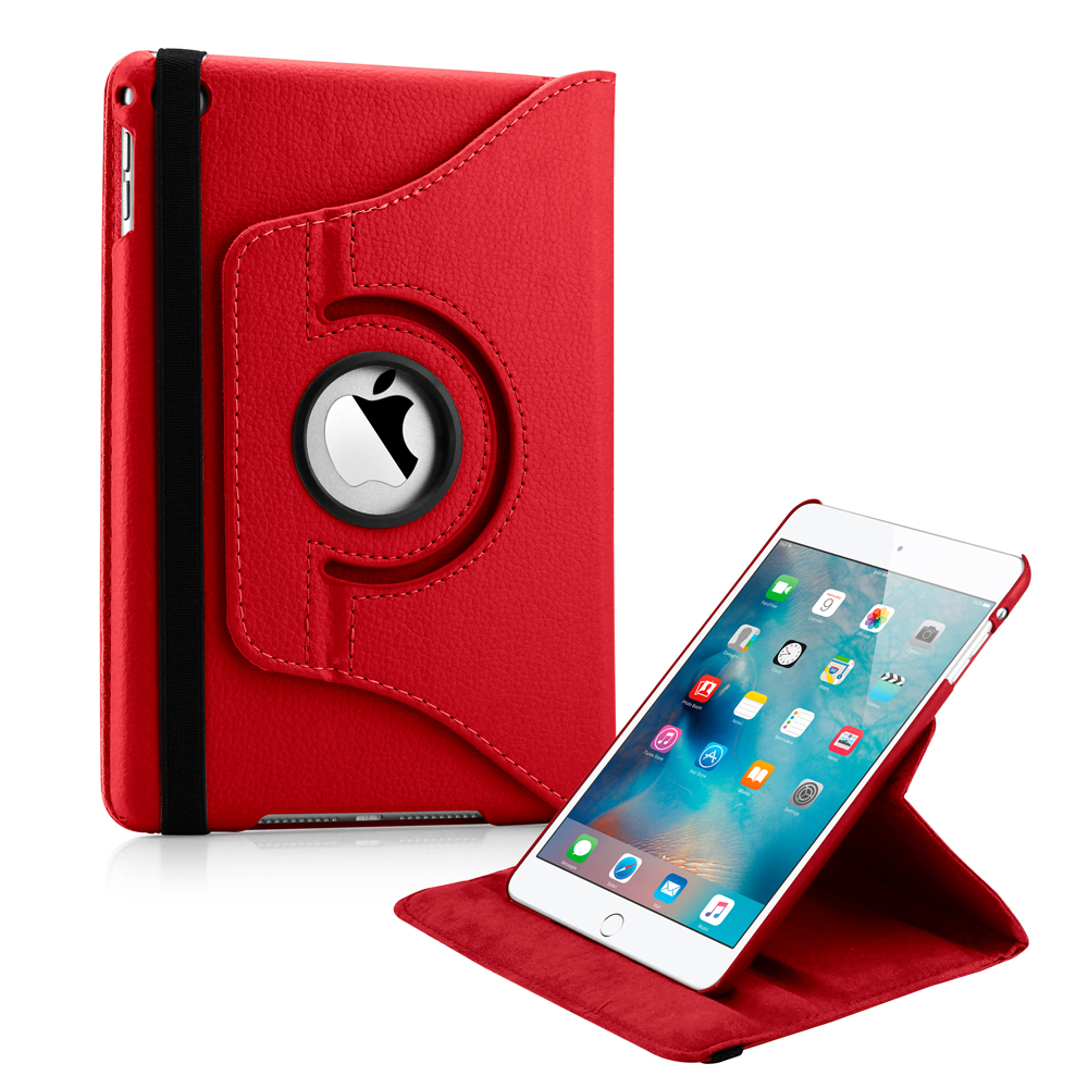 360 Degree Rotating PU Leather Cover Smart Case Swivel Stand for Apple iPad Mini 4 - Red