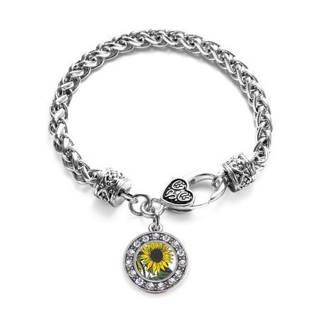 Sunflower Circle Charm Braided Bracelet (Sunflower Charm)