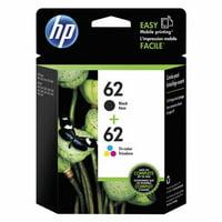 HP 62 Tri-color & Black Original Ink Cartridges, 2-Pack (N9H64FN)