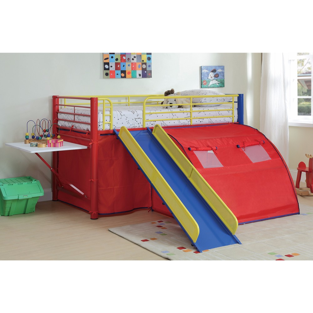 Lofted Bunk Bed with Slide and Tent, Multicolor
