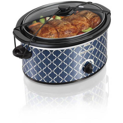 Hamilton Beach 5-Quart Portable Slow Cooker, Blue Trellis Pattern