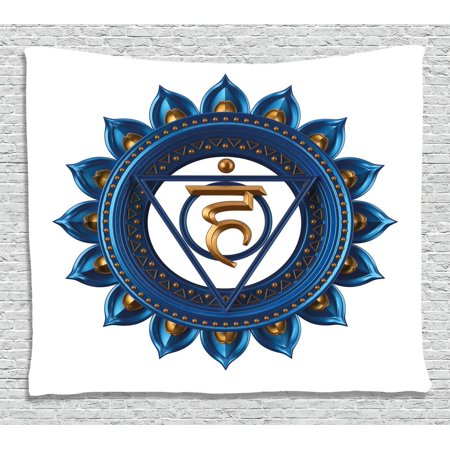 Chakra Decor Tapestry  Embellished Vintage Power Sign Graphic Sacred Center Of Vital Energy Decor  Wall Hanging For Bedroom Living Room Dorm Decor  60W X 40L Inches  Blue Gold  By Ambesonne