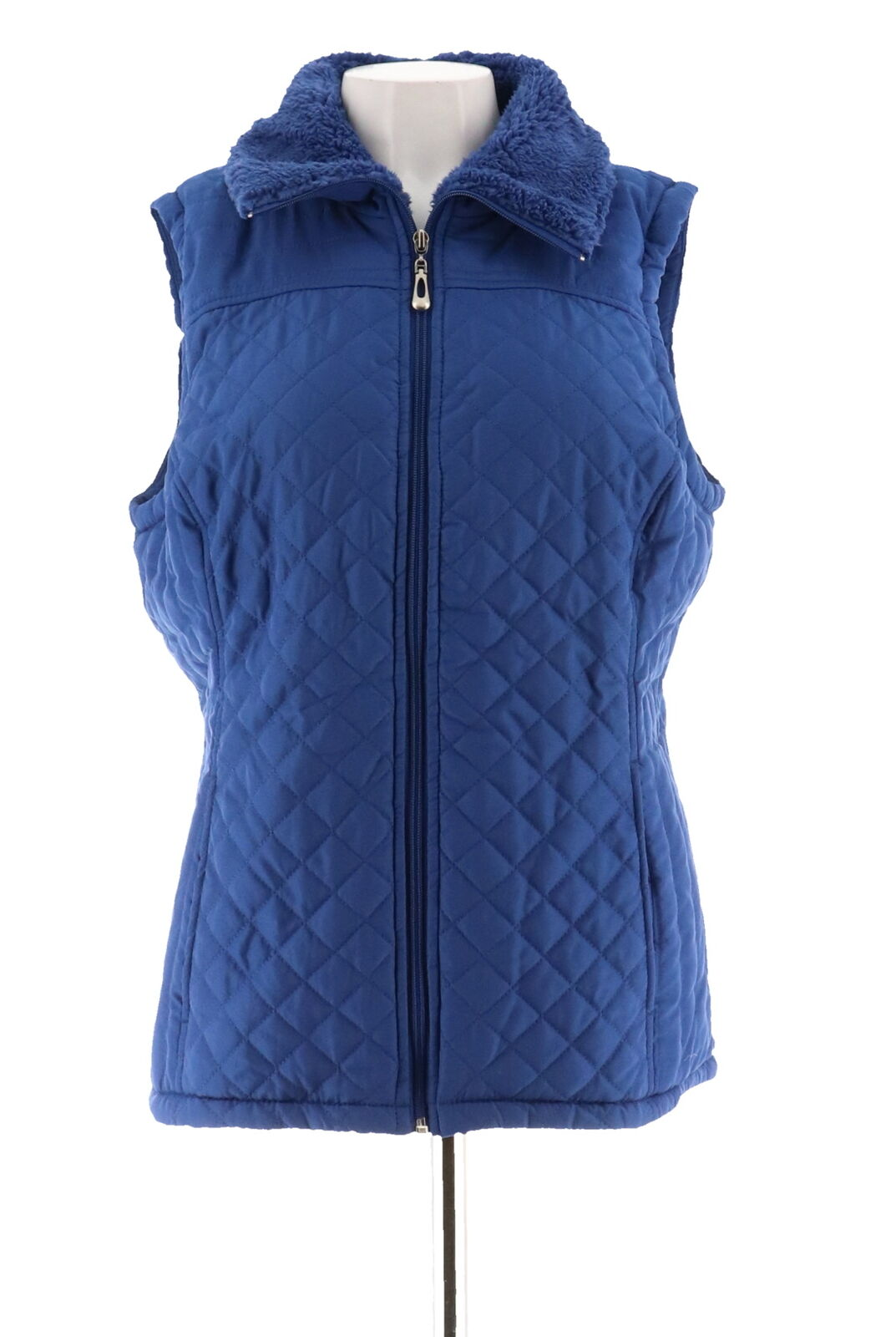 Denim & Co Zip Front Quilted Vest Faux Sherpa Lining A259644