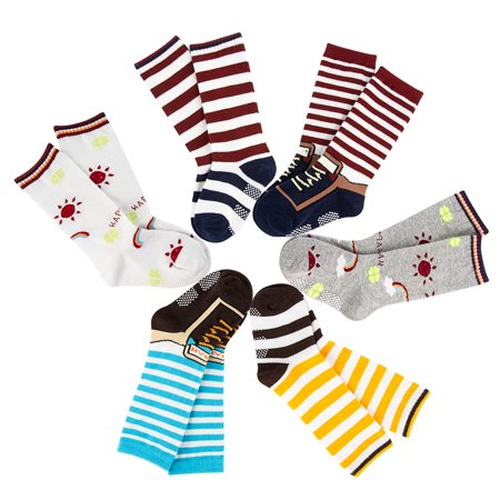 Lovely Annie Unisex Children 6 Pairs Pack Non-Skid Non-Slip Cotton Crew Socks One Size 6 Boy Color (Six Pack Annie)