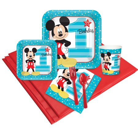 Mickey Mouse 1st Birthday Party Pack (24) - Cheap Mickey Mouse Party Supplies