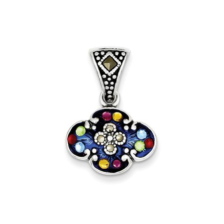 Sterling Silver Enamel Antique finish Multicolor Cubic Zirconia and Marcasite Antiqued Pendant