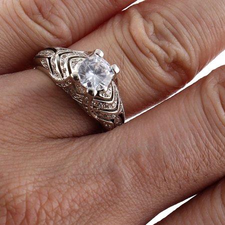 Women Ladies Metal Faux Rhinestone Inlaid Finger Ring Band Silver Tone US 10 - image 3 de 4