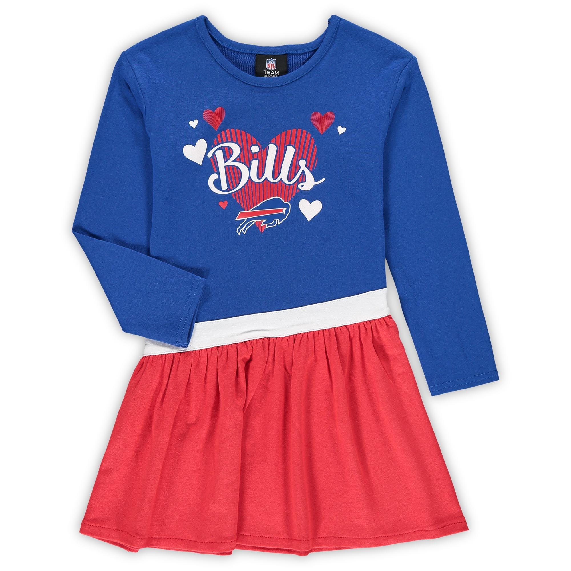 Buffalo Bills Girls Toddler All Hearts Jersey Long Sleeve Dress - Royal - Walmart.com
