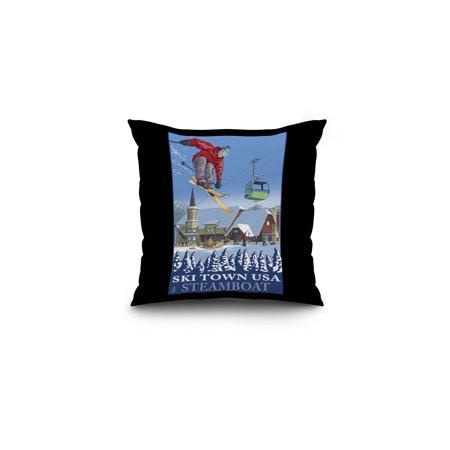 Steamboat, Colorado - Ski Town USA - Lantern Press Artwork (16x16 Spun Polyester Pillow, Black