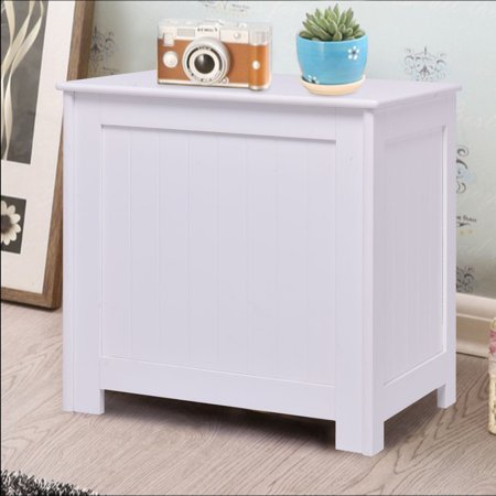 Costway White Wood Laundry Clothes Hamper Storage Basket