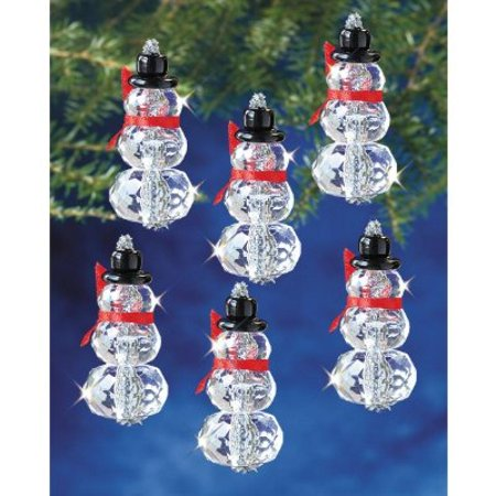 Beadery Holiday Beaded Ornament Kit, Faceted Elegant Snowmen, 2 by 1-Inch Makes 12 - Ornaments To Make