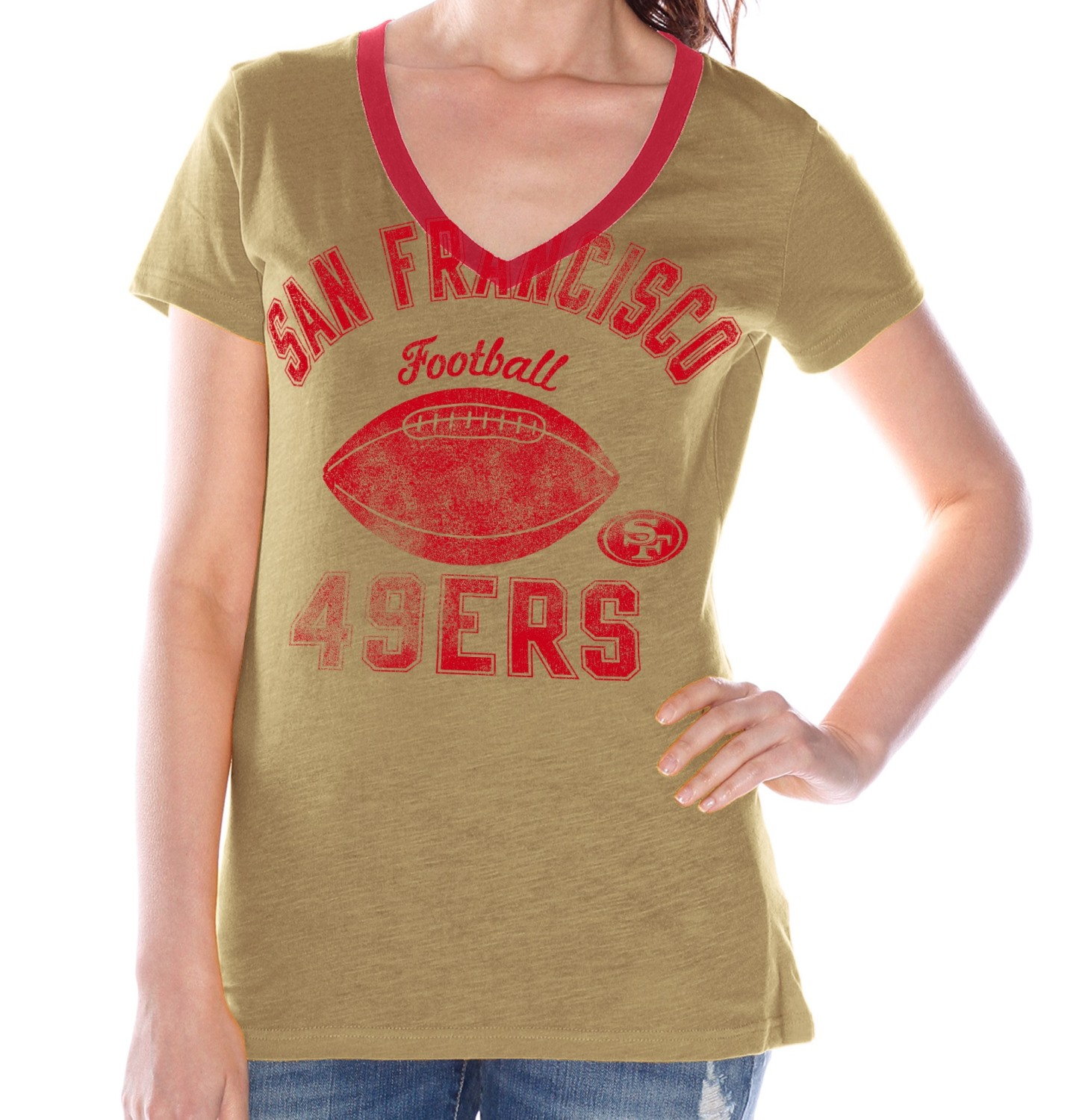 "San Francisco 49ers Women's G-III NFL ""Flea Flicker"" V-neck T-shirt"