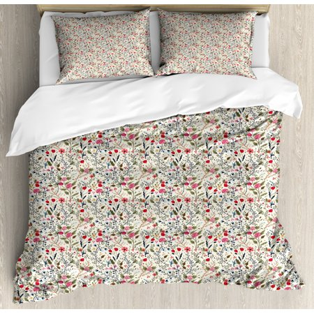 Spring Duvet Cover Set Queen Size, Seasonal Foliage with Roses and Tulips Flying Little Sparrows Blossoming Nature, Decorative 3 Piece Bedding Set with 2 Pillow Shams, Multicolor, by Ambesonne