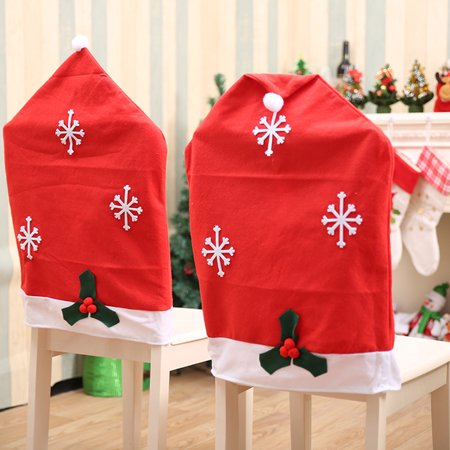 1/2/4/6/8 Pcs Christmas Chair Cover Snowflake Santa Claus Cap Non-woven Dinner Red Hat Chair Covers for Table Party Home Christmas ()