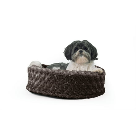 FurHaven Pet Dog Bed | Plush Cup Pet Bed for Dogs & Cats, Chocolate, 18-Inch Round - Lavender Dog Spa