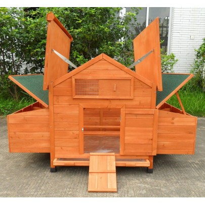 ChickenCoopOutlet New Wood Chicken Coop Backyard Hen House 4 8 Chickens  With 6 Nesting Box