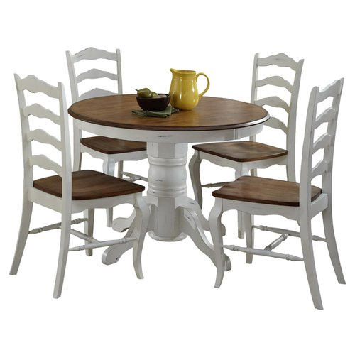 August Grove Wisser Oak and Rubbed White 5-Piece Dining Set