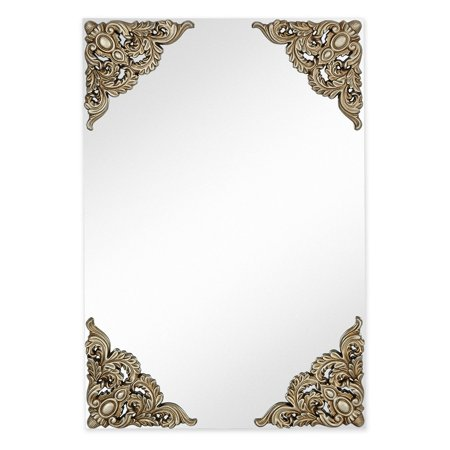Majestic Mirror Silver Leaf Decorated Corners Accent Wall Mirror - 26W x 38H in.