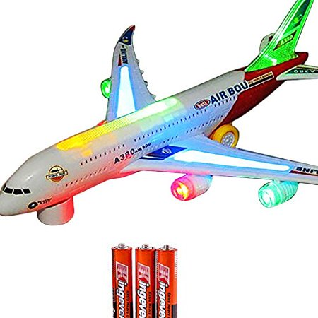 Toysery Airplane Airbus Toy With Beautiful Attractive Flashing Lights and Realistic Jet Engine Sounds , Bump and Go Action Battery Included (Colors May