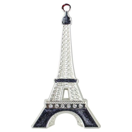 Northlight Silver Plated with Crystal Accents Eiffel Tower Christmas Ornament