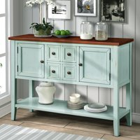 Console Table with 4 Storage Drawers, 46'' x 15'' x 34'' Wood Buffet Sideboard Desk with 2 Cabinets and Bottom Shelf, Retro Tall Entryway Table Cupboard w/ MDF Panel for Kitchen Dining Room, S5262